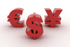 Red Dollar Euro and Yen isolated Royalty Free Stock Photos
