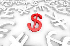 Red dollar sign around another currency signs. Royalty Free Stock Photo
