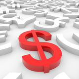 Red dollar sign around another currency signs. Royalty Free Stock Image