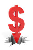 Red dollar sign with arrow down breaking floor. Stock Photo