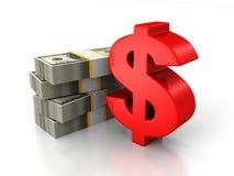 Red dollar sign and bundle of money paper currency. 3d render illustration vector illustration