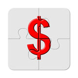 Red dollar sign on jigsaw puzzle piece. Dollar sign imprinted on jigsaw puzzle pieces Royalty Free Stock Photography