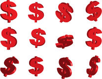 Red Dollar Signs Isolated On White Background Stock Photo