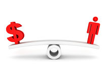 Red dollar symbol and human icon on scale. Business concept 3d render illustration royalty free stock images