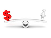 Red dollar symbol and human icon on scale Royalty Free Stock Photos