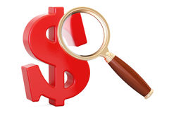 Red dollar symbol with magnifier, 3D rendering Royalty Free Stock Images