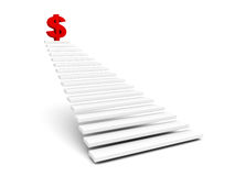 Red dollar symbol on top of ladder Royalty Free Stock Photo