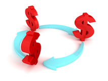 Red dollar symbols with cycled blue arrows Royalty Free Stock Photography