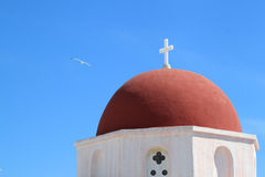Red Dome of Mykonos Church Stock Photos
