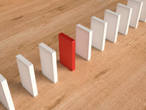 Red domino for leadership concept Stock Photos