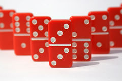 Red Dominoes. On a white background stock photography