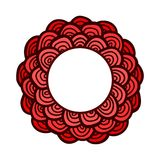 Red doodle flower frame. Cute vector card. Stock Photo