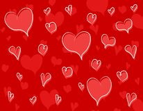 Red Doodle Hearts Background Pattern Royalty Free Stock Photography