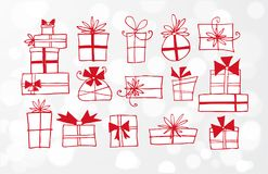 Red Doodlle sketch gift boxes on white glowing background.  Royalty Free Stock Images