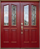 Red Door. With cut beveled glass art panel royalty free stock image