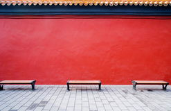 Red door. Top of a traditional chinese red wall Stock Photos