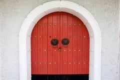 Red door. Door with Chinese design Stock Photo