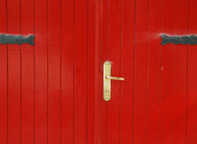 Red door. With metal lock stock photo