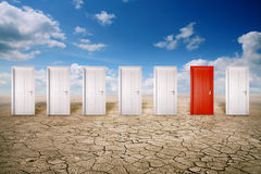 Free Red Door Among Many White Ones Royalty Free Stock Photography - 51376457