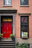 Red door, apartment building, New York City Stock Photography