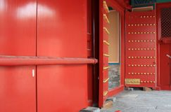 Red door and bolt Royalty Free Stock Photos