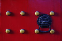 Red door with brass nails. There is a red door with some pommel brass nails and a ornament of lion Stock Images