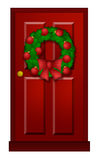 Red Door with Christmas Wreath Illustration Royalty Free Stock Image