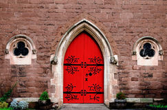Red door of the church in Birmingham Royalty Free Stock Photography