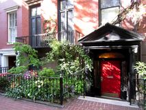 USA, New York City, Red Door Entrance in Greenwich Village royalty free stock photo
