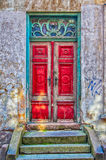 Red Door Green Frame Stock Image