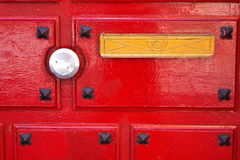 Red door. With door handle Royalty Free Stock Photo
