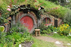 Red door Hobbit house Stock Photography