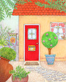 Red Door. Illustration of a front of a house with a red door Royalty Free Stock Images