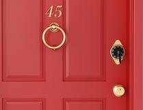 Red door with locker Royalty Free Stock Photos