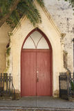Red Door in Old Lutheran Church Royalty Free Stock Photography
