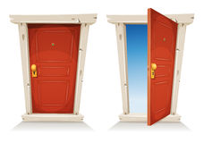 Red Door Open And Closed Royalty Free Stock Photography
