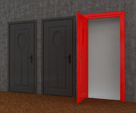 Red Door open Stock Photography