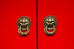 Red Door Ornate Dragon Brass Knockers Houhai Lake Beijing, China Royalty Free Stock Image