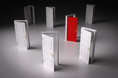 Red door among other white ones. Decision making Stock Image