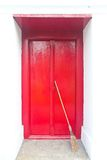 Red door in temple of Thailand Royalty Free Stock Photography