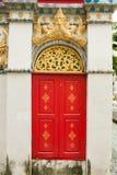 Red door Thai temple Stock Photo