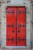 Red door of the Walburgis church in Zutphen Stock Images