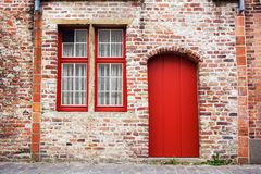 Red door and window Royalty Free Stock Photography