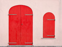 Red door and window Stock Images