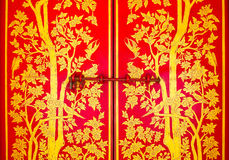 Red Doors. Entrance to Wat Phra Keao Temple, Thailand Stock Image