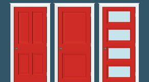 Free Red Doors Closed - Door Frame Only, No Walls. Red Doors Illustration. Royalty Free Stock Photo - 109428775