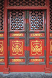 Red doors with golden painting 3 Royalty Free Stock Photos