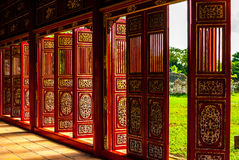Red doors in Hue Forbidden city Royalty Free Stock Images