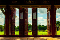 Red doors in Hue Forbidden city Stock Photos