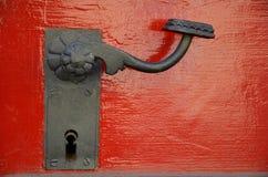 Red doors, streets of Prague Stock Image